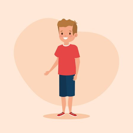 happy boy child with casual clothes over pink background, vector illustration