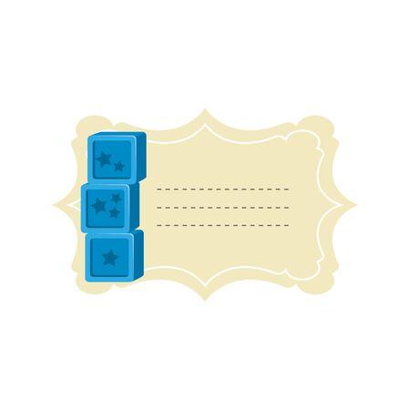 baby shower card with blocks toys vector illustration design Çizim