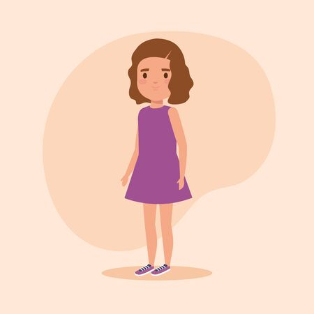 girl child with fashion hairstyle and casual clothes over pink background, vector illustration Foto de archivo - 133908844