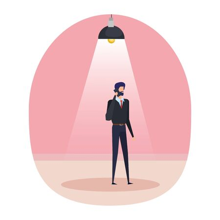 businessman using smartphone in the workplace vector illustration design