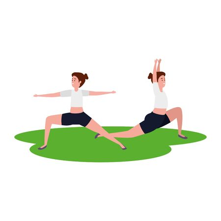 beauty girls couple practicing pilates in grass vector illustration design Illustration