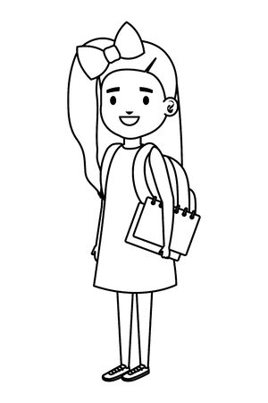 happy student girl with school bag and books vector illustration design