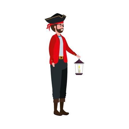 young man disguised pirate with lantern vector illustration design