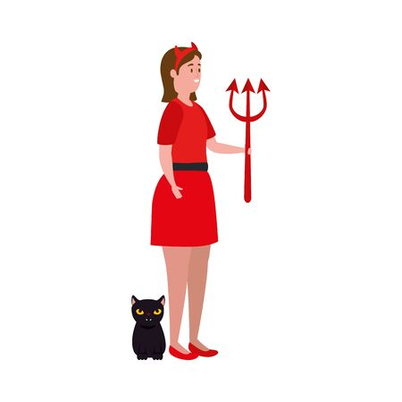 young woman disguised devil with cat black vector illustration design