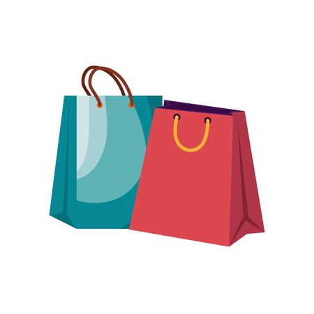 shopping bags handle isolated icons vector illustration design