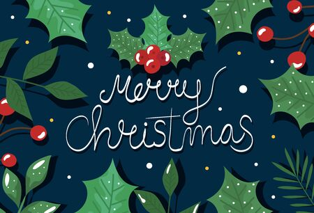 merry christmas poster with decorative leafs vector illustration design