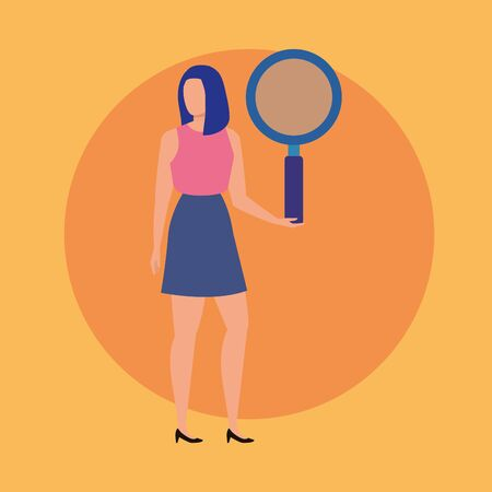 young woman with magnifying glass character vector illustration design