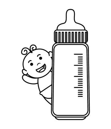 cute little baby boy with bottle milk character vector illustration design Ilustração
