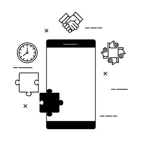 smartphone device with social media icons vector illustration design Standard-Bild - 133923805