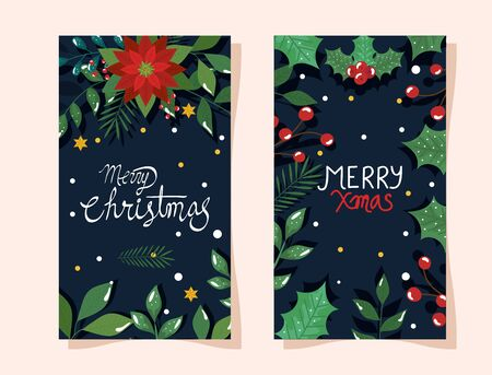 set of poster of merry christmas with flowers and leafs vector illustration design