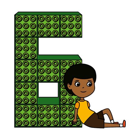 little black boy with number six and toy pieces vector illustration design 向量圖像