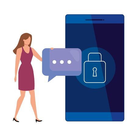 business woman with smartphone and speech bubble vector illustration design