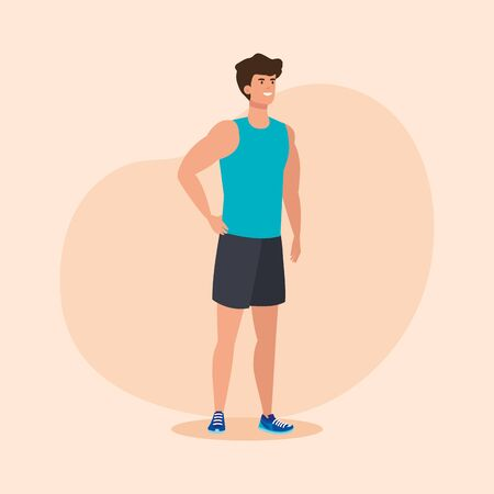 fitness man with healthy sport activity over pink background, vector illustration