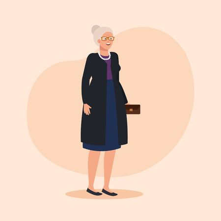 old woman with blouse and skirt with coat over pink background, vector illustration Иллюстрация