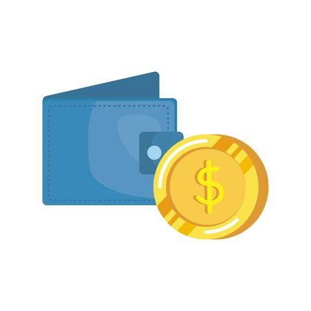 coins money dollars with wallet vector illustration design  イラスト・ベクター素材
