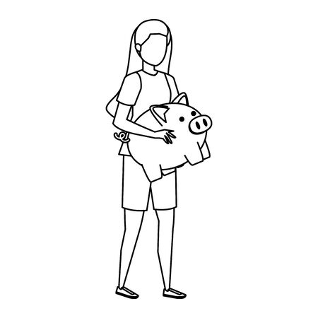 young woman lifting piggy savings character vector illustration design Stock fotó - 133966237