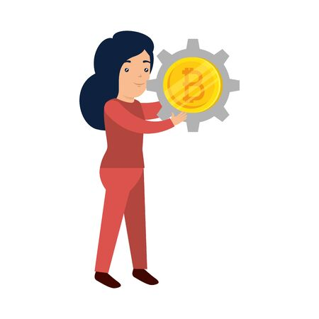 businesswoman lifting bitcoin icon vector illustration design Stock fotó - 133975302