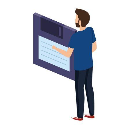 young man lifting floppy disk data storage vector illustration design Stock fotó - 133975310