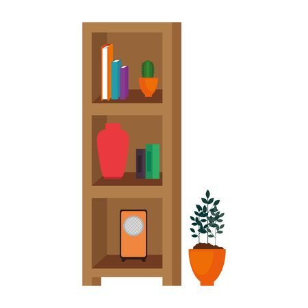 house place with shelving scene vector illustration design
