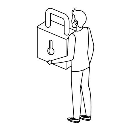 man lifting safe secure padlock vector illustration design Stock fotó - 133975307