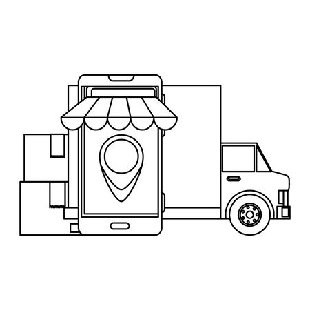 delivery service truck with smartphone and boxes vector illustration design