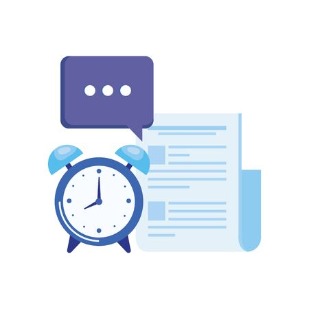 alarm clock with document file vector illustration design