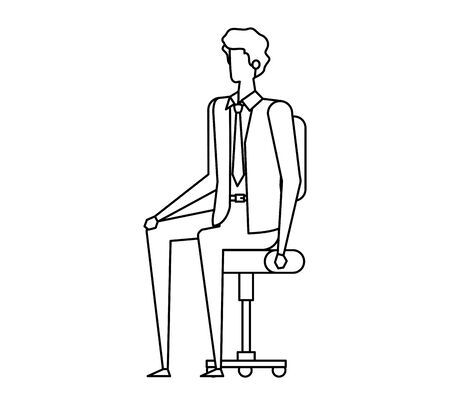 elegant businessman worker seated in office chair vector illustration design Ilustracja