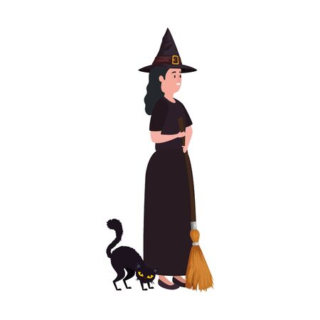 young woman disguised witch with cat black vector illustration design