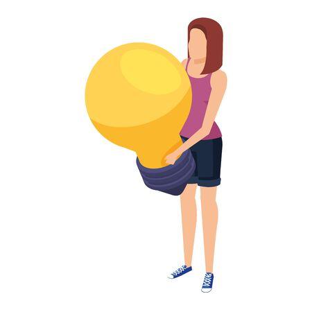 young woman lifting bulb light vector illustration design Stock fotó - 133976337