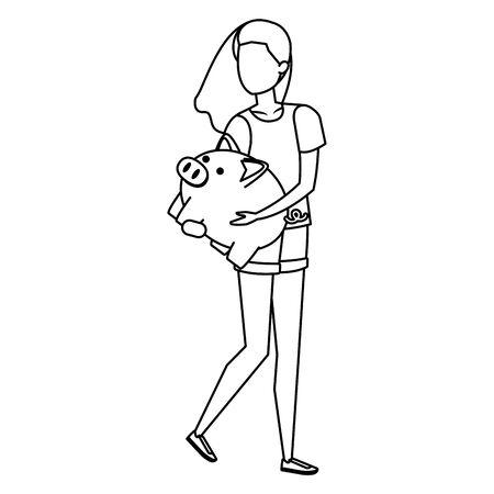 young woman lifting piggy savings character vector illustration design Stock fotó - 133976350