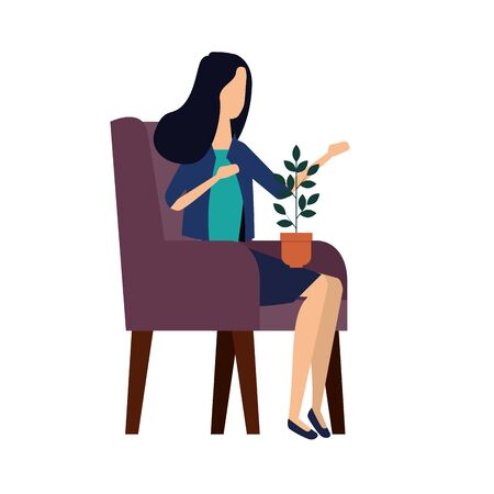 elegant businesswoman with houseplant in the sofa vector illustration design Stock fotó - 133976871