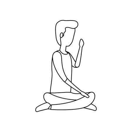 elegant businessman seated in lotus position vector illustration design