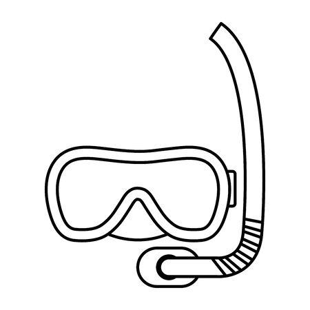 Tauchen Schnorchelmaske Zubehör Symbol Vektor Illustration Design