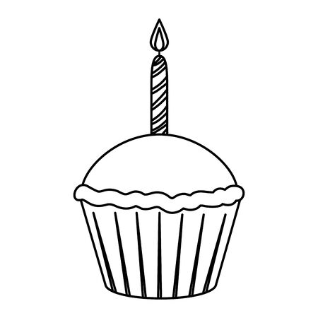 sweet cupcake with candle pastry icon vector illustration design