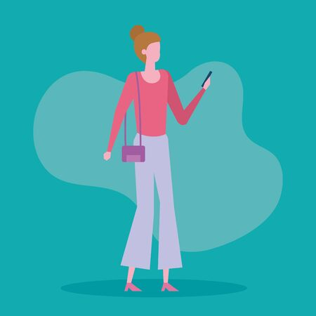 woman with purse and smartphone with casual clothes over green background, vector illustration