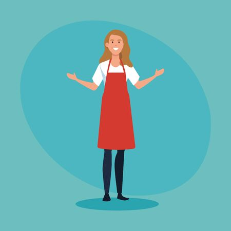 happy saleswoman with casual clothes wearing apron over blue background, vector illustration
