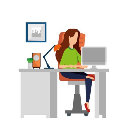 woman in office workplace scene with desktop vector illustration design