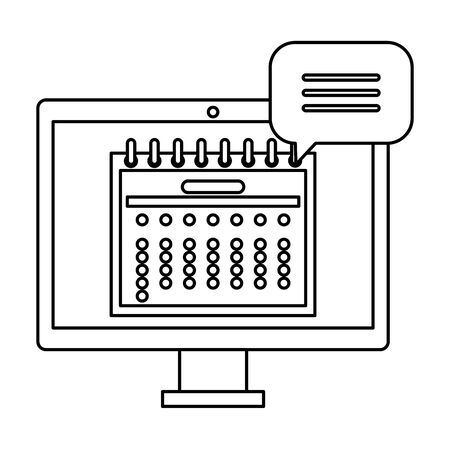 computer with calendar date reminder and speech bubble vector illustration design