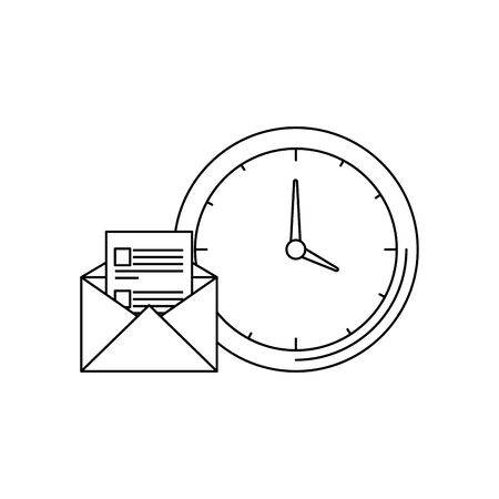 time clock watch with envelope mail vector illustration design Illusztráció