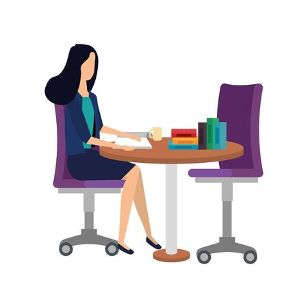 elegant businesswoman in table with books vector illustration design