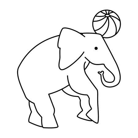 circus elephant playing with ball vector illustration design Illusztráció
