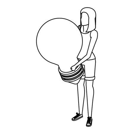 young woman lifting bulb light vector illustration design