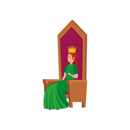beautiful princess fairytale sitting in chair vector illustration design