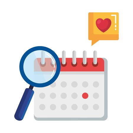 calendar reminder with magnifying glass and speech bubble vector illustration