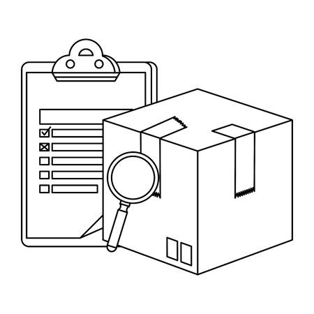 box carton with magnifying and checklist delivery service vector illustration design Ilustrace