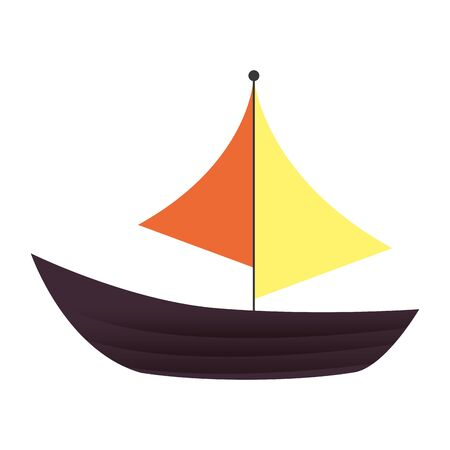 sailboat summer vehicle isolated icon vector illustration design