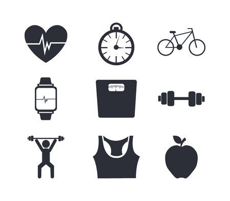 bundle of fitness set icons vector illustration design