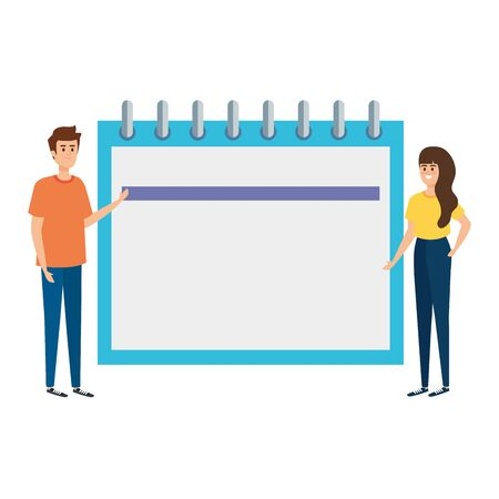 couple lifitng calendar date reminder vector illustration design Illustration