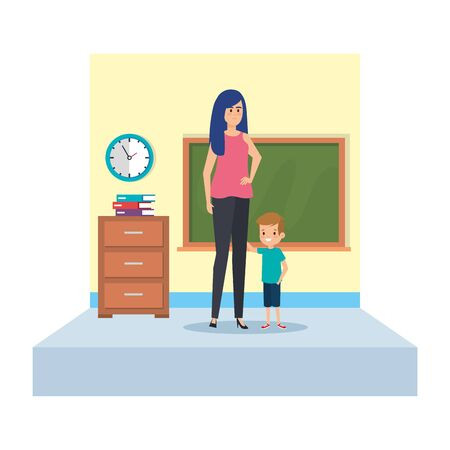 female teacher and little boy in school classroom vector illustration design Stock fotó - 133966313