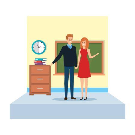 teachers couple in school classroom vector illustration design